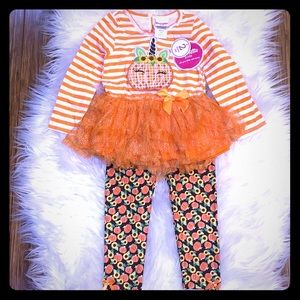 Orange Pumpkin Unicorn Tunic with Pumpkin Leggings